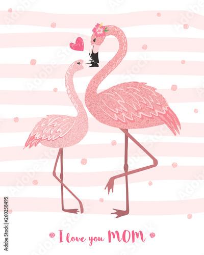Śliczna różowa flamingo mama z dzieckiem.