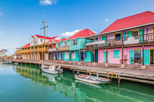 St John's, Antigua. Colorful Buildings At The Cruise Port.