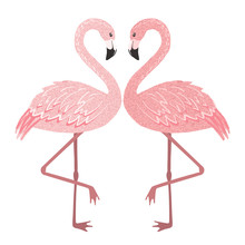 Pink Flamingo Couple In Love Isolated On White.