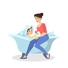 Mother Wash Boy In The Bath. Baby Bathing. Idea Of Health
