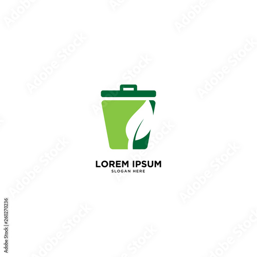 Fototapety, obrazy: recycle trash green leaf simple line logo template vector illustration icon element isolated - Vector