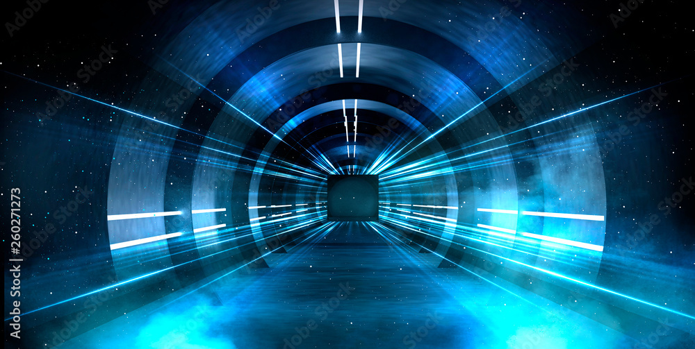 Fototapeta Abstract tunnel, corridor with rays of light and new highlights. Abstract blue background, neon. Scene with rays and lines, Round arch, light in motion, night view.