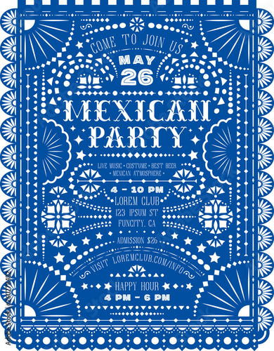 Mexican party announcing poster with paper cut design. Fotobehang