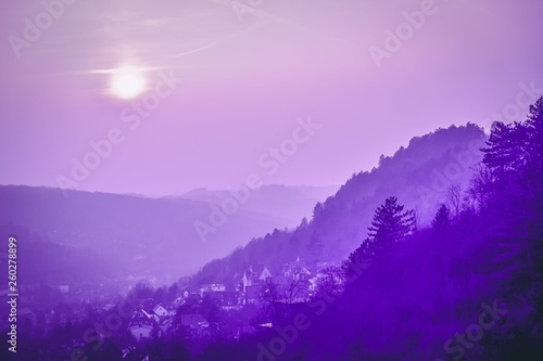 Panoramic view of hills and old town. Violet purple toned. Jena, Germany - 260278899