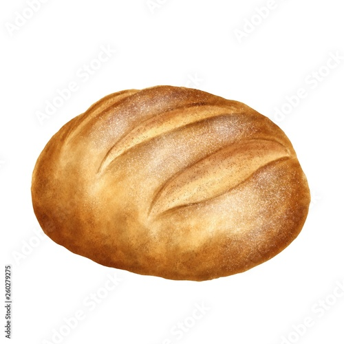 Staande foto Brood Hand drawn bread on watercolor paper isolated on white background. Realistic food illustration.