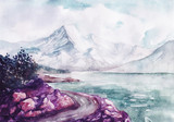 Watercolor river and mountains nature landscape vector illustration - 260279418