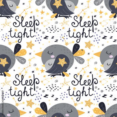 Printed kitchen splashbacks Illustrations Seamless pattern with sleeping birds