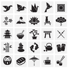 Japan Related Icons Set On Squ...