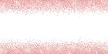 Rose Gold Glitter On White Background, Horizontal Wide Border. Vector