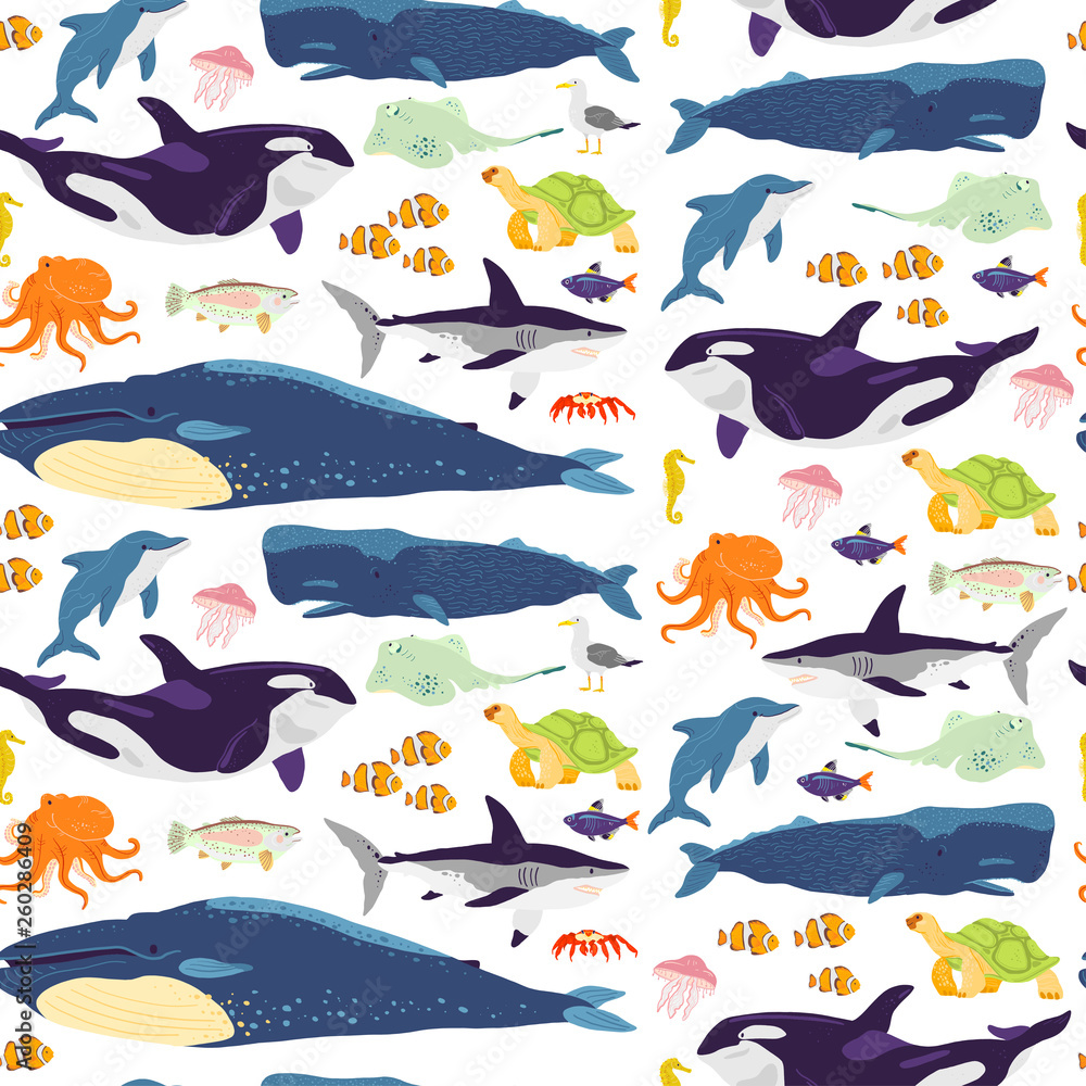Vector flat seamless pattern with hand drawn marine animals, fish,amphibia isolated on white background. Good for packaging paper, cards, wallpapers, gift tags, nursery decor etc.