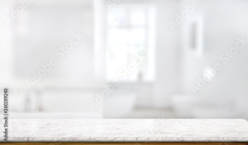 Obraz Marble counter table top in bath room background - fototapety do salonu