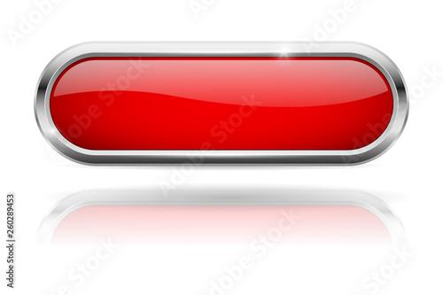 Fototapeta Red oval button. Glass icon with chrome frame obraz na płótnie