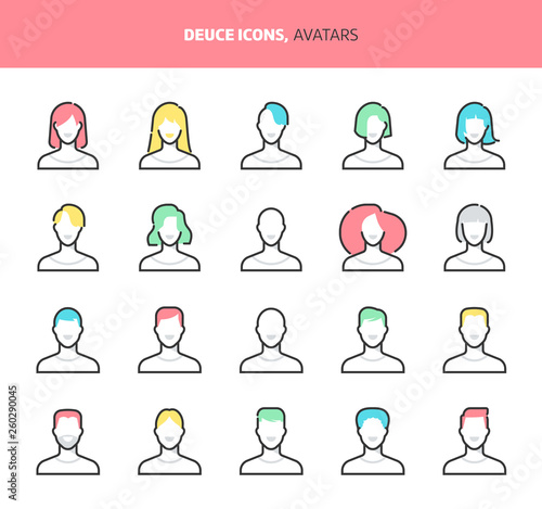 Avatars, deuce icons  The illustrations are a vector, colorful