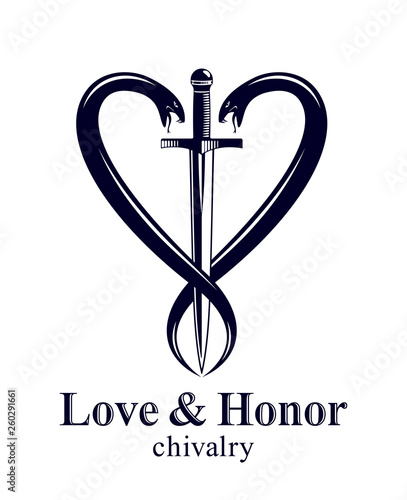 Cuadros en Lienzo Dagger and two snakes in a shape of heart vector vintage style emblem or logo, chivalry love and honor concept, medieval Victorian style