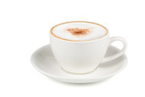 Side view of Hot cappuccino coffee in a white cup isolated on white background. (Clipping path inside)