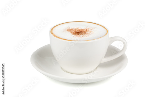 Side view of Hot cappuccino coffee in a white cup isolated on white background Fototapet