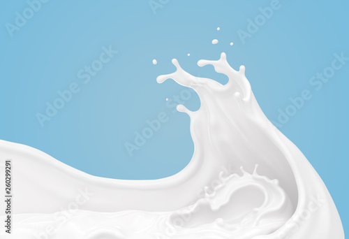 Stampa su Tela white milk or yogurt splash in wave shape isolated on blue background, 3d rendering Include clipping path