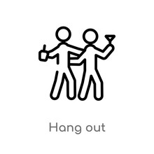 Outline Hang Out Vector Icon. Isolated Black Simple Line Element Illustration From Activities Concept. Editable Vector Stroke Hang Out Icon On White Background