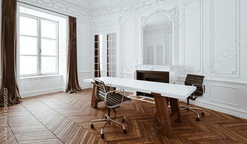 Fotografie, Obraz  3d render of beautiful classic interior office