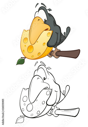 Spoed Foto op Canvas Babykamer Vector Illustration of a Cute Cartoon Character Raven for you Design and Computer Game. Coloring Book Outline Set