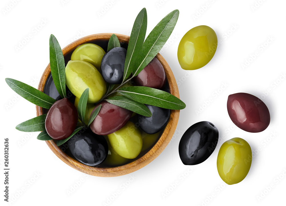 Fototapety, obrazy: Delicious black, green and red olives with leaves in a wooden bowl, isolated on white background, view from above