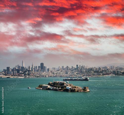 Alcatraz Island at dusk in San Francisco Canvas Print