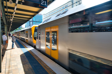 SYDNEY - OCTOBER 2015: Subway train in the railway station. The city attracts 20 million people annually