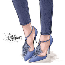 Hand Drawn Beautiful Female Legs. Stylish Women Blue Shoes And Jeans. Sketch Vector Illustration.