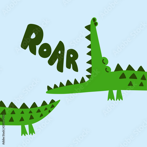 Photo  Cute Crocodile print design- funny hand drawn doodle, cartoon alligator