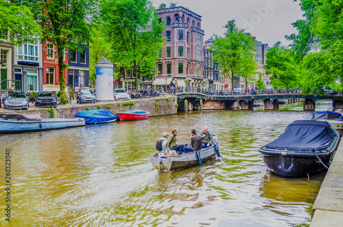 Photo  Canal in the center of the city of Amsterdam