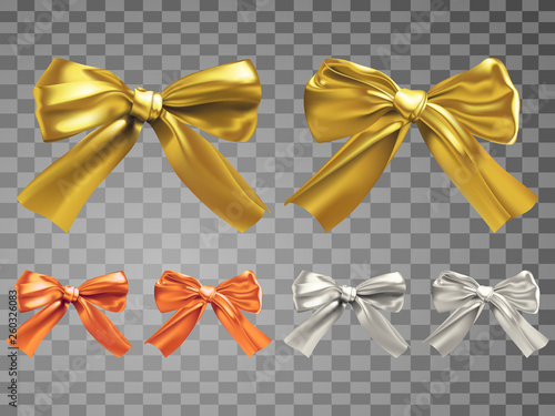 Tableau sur Toile Two different silk bowknots of golden, copper and silver color variations,vector illustration in realistic style with Gradient Mesh