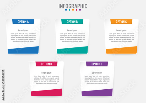 Fototapety, obrazy: Business infographic labels template with 5 options.Creative concept for infographic..