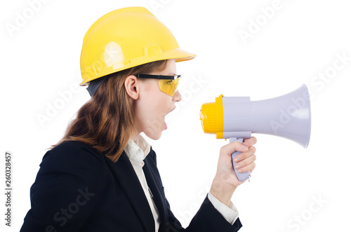 Poster Hoogte schaal Woman with hard hat isolated on white
