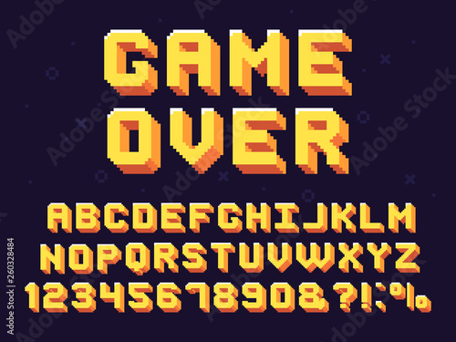 Fototapeta Pixel game font. Retro games text, 90s gaming alphabet and 8 bit computer graphic letters vector set obraz