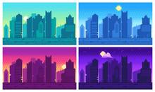 Pixel Art Cityscape. Town Stre...