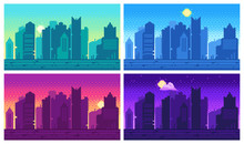 Pixel Art Cityscape. Town Street 8 Bit City Landscape, Night And Daytime Urban Arcade Game Location