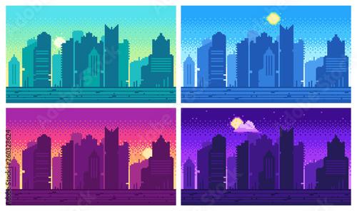 Cuadros en Lienzo Pixel art cityscape