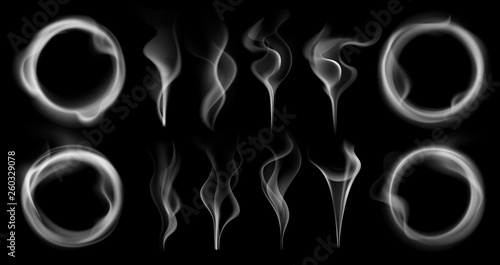 Photo Stands Smoke Steam smoke shapes. Smoking vapor streams, steaming vaping ring and vapor waves translucent realistic 3D effect isolated vector set