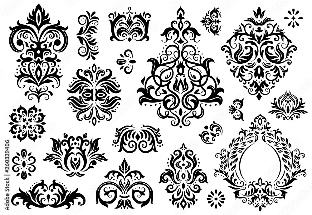 Fototapety, obrazy: Damask ornament. Vintage floral sprigs pattern, baroque ornaments and victorian decor ornamental patterns vector illustration set