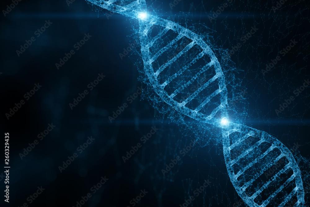 Fototapeta Abstract blue colored shiny dna molecule on futuristic digital illustration background.