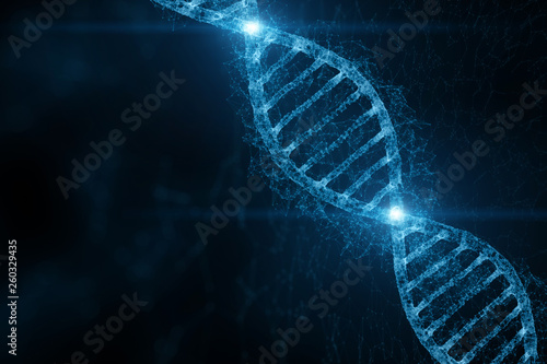 Abstract blue colored shiny dna molecule on futuristic digital illustration background.