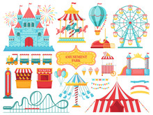 Amusement Park Attractions. Carnival Kids Carousel, Ferris Wheel Attraction And Amusing Fairground Entertainments Vector Illustration