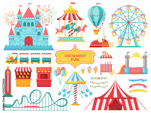 Obraz Amusement park attractions. Carnival kids carousel, ferris wheel attraction and amusing fairground entertainments vector illustration - fototapety do salonu