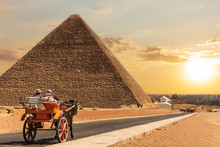 A Carriage In Giza Near The Pyramid Of Cheops, Egypt