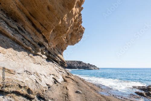 Fototapeta premium Yellow Mountain shore natural monument, Montaña Amarilla Natural Monument, San Miguel de Abona, Tenerife, Canary Islands, Spain