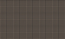 Black Brown Glen Plaid Seamless Vector Pattern With 5x5 Houndstooth Check. Trendy High Fashion Print.  Prince Of Wales Check. Traditional Scottish Fabric. Pixel Perfect Repeating Tile Swatch Included.