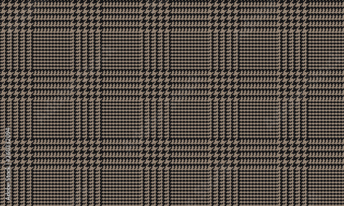 Photo  Black Brown Glen Plaid Seamless Vector Pattern with 5x5 Houndstooth Check