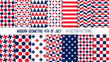 Patriotic Red White Blue Modern Geometric Vector Patterns. Bold Prints For 4th Of July Party Decor. Independence Day Holiday Backgrounds. Repeating Pattern Tile Swatches Included