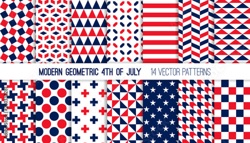 Photo Patriotic Red White Blue Modern Geometric Vector Patterns
