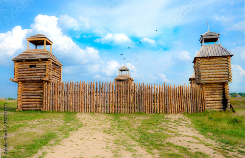 A fort with wooden stockade Wallpaper Mural